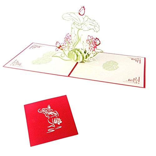 Kofun Vatertag Geschenke, Grußkarte mit Umschlag, Hochzeit Einladung Brief 3D-Karte Umschläge Dichtungen benutzerdefinierte Wasser Lotus personalisierte Druck (Benutzerdefinierte Geschenk-karte)