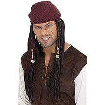 Smiffys Peluca y pañuelo de pirata, marrón, ...