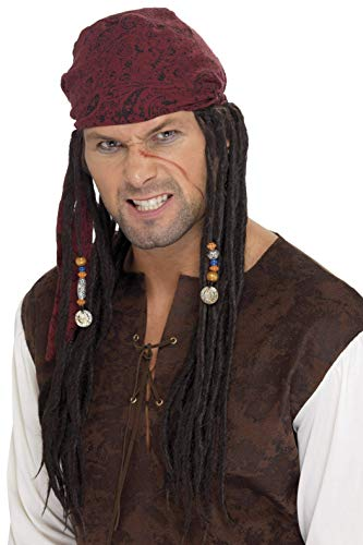 Smiffy'S 42078 Peluca Y Pañuelo De Pirata Con Trenzas