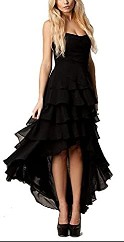 SunIfSnow Women Wrapped Chest Plus Size Sweet Black Chiffon Cascading Ruffles Long Dress XL