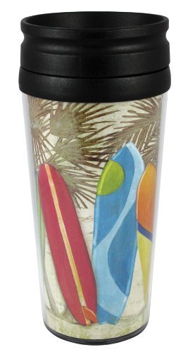 CounterArt Insulated Travel Mug, 14-Ounce, Surf City by CounterArt