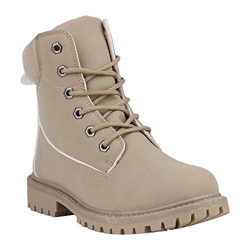 Damen Stiefeletten Outdoor Schuhe Profilsohle Worker Boots 152300 Creme Camargo 40 Flandell