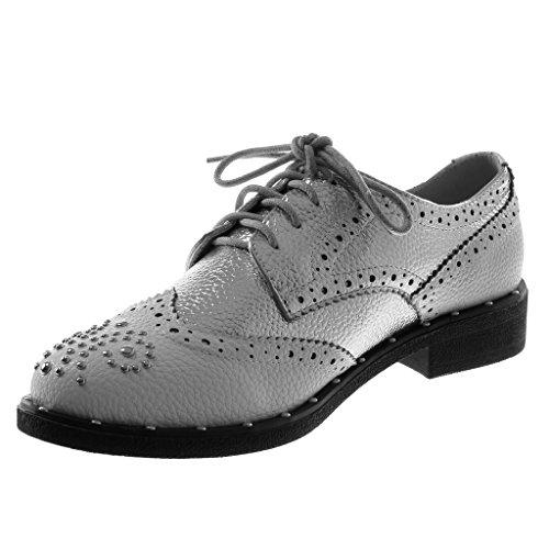 Angkorly Damen Schuhe Derby-Schuh - Nieten - Besetzt - Perforiert -  Glänzende Blockabsatz 3 ...