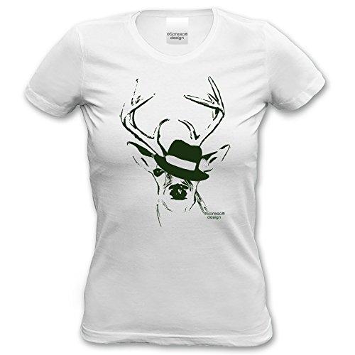 Soreso Design T-Shirt Hirsch mit Hut für Frauen, Damen kurzarm, Rundhals Farbe: weiss Weiß