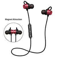Bluetooth Headphones V4.1 Magnetic GRDE Wireless Sport Headphones Earphones HD Stereo In-Ear Headset Earbuds with Mic Noise Diminishing 8 Hours Playtime for iPhone and Androidphone(Red)
