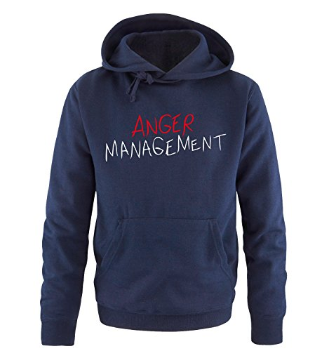 Comedy Shirts - ANGER MANAGEUomoT - Uomo Hoodie cappuccio sweater - taglia S-XXL vari colori blu navy / bianco-rosso