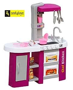 Zest 4 Toyz 53 Pcs Battery Operated Kitchen Set for Kids, Pretend Play Kitchen Toy Set for Kids | Kitchen Set for Kids Girls (Purple)