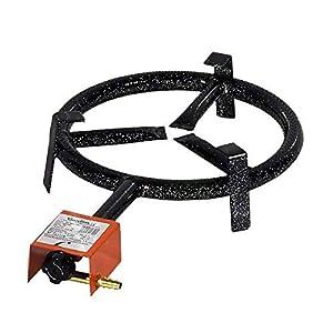 GARCIMA 5020085 Paellero Gas Butano 200 mm, Negro, 21.2×42.5×9.7 cm