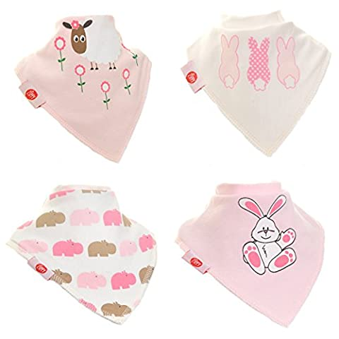 Zippy Fun Baby and Toddler Bandana Bib - Absorbent 100% Cotton Front Dribble Bibs with Adjustable Straps (4 Pack Gift Set) Girls Cute Pink