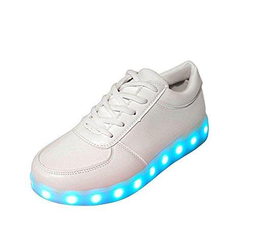 Herren/Damen Sneaker, Herren/Damen Sneaker, Mode Leuchtende Freizeitschuhe für Paare Unisex Licht schnüren LED-Lade Sneaker USB Atmungsaktive Multifunktionale Schuhe (41, Weiß)