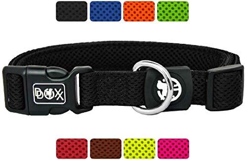 DDOXX Hundehalsband Air Mesh in vielen Farben & Größen für kleine & große Hunde | Halsband Hund Katze Welpe | Katzenhalsband klein | Hunde-Halsbänder breit Leuchtend | Schwarz, XS -