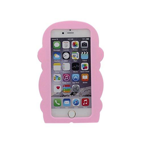 Affe Gestalten Serie Slikon Gel [ Glatte Oberfläche ] Super Weich Cartoon Tier Hülle Case Schutzhülle für Apple iPhone 6 / iPhone 6S 4.7 inch Hülle pink