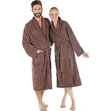 Albornoz con cuello algodón rizado, abrigo de sauna para hombre y mujer, calidad Bata flauschig agradable Celin ATEX con Öko-Tex Oregon–Bata, algodón, marrón, extra-large