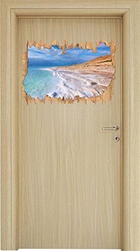 Das Tote Meer bei Tag Bunstift Effekt Holzdurchbruch im 3D-Look , Wand- oder Türaufkleber Format: 62x42cm, Wandsticker, Wandtattoo, Wanddekoration (Strand Tote Natürlicher)