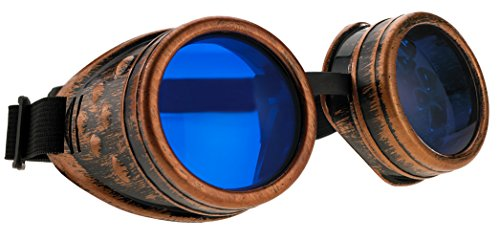 4sold Steampunk Blue Lenses Black Cyber Goggles Rave Goth Vintage Victorian Sunglasses Welding Cosplay Vintage Rustic Hippy Party Fancy Dress with set sticker, glasses and box (Adult, ()