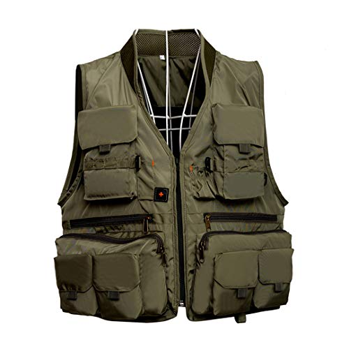 Men Quick Dry Fly Fishing Vest Breathable Fishing Jacket with Mesh Lining for Angler Army Green XL (Flight Jacket Mit Patches)