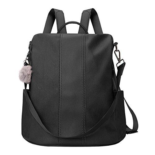 JL&LJ Sacs femme multi-fonction - Voyages, scolaire, loisirs,d'ordinateur portable Sac à dos - femme/fille Cartable Sac dos (PU cuir noir)