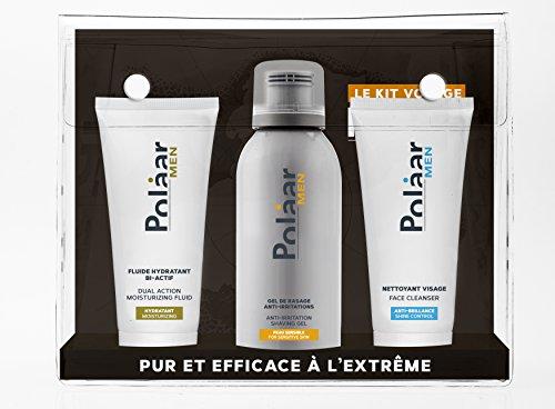 Polaar - Men - Coffret Kit Voyage Homme - Nettoyant 30 ml, Gel Rasage 75 ml, Fluide 30 ml