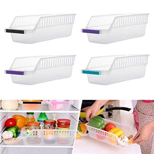 TOUA Plastic Fridge Space Saver Food Storage Organizer Box Refrigerator Basket Rack Food Storage Drawer Box Organizer Container (Set of 4)