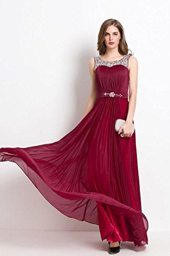 Beauty-Emily Speghetti Beeds Abendkleid mit Trägern lang Rot - Rot