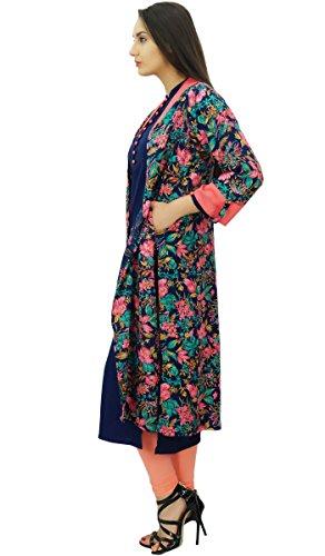 Bimba 2 pcs designer longue veste avec droite robe de designer tunique kurti Multicolore