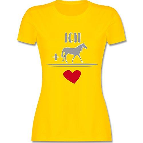 Pferde - Pferde-Liebe - tailliertes Premium T-Shirt mit Rundhalsausschnitt für Damen Gelb