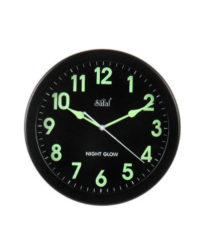 Safal Wooden Night Glow Clock (Black, SQNG 101)