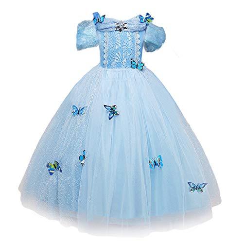Nndoll cenerentola vestito costumi carnevale bambina bimba principessa azzurro farfalla manica corta abito(110 (2-3 anni)