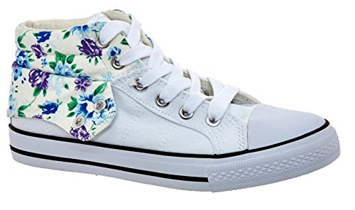 Lace Coveri Enrico Print Up High Canvas Whitefloral Top Trainers I7qprwIx