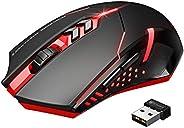 VicTsing Mouse Gaming Wireless Mouse da Gioco Silenzioso, 7 Pulsanti Tranquilli, per Gamer/Ufficio/Casa, Rosso