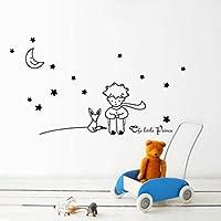 ❤️Pegatinas de Pared❤️Dragon868 Estrellas Luna el pequeño príncipe Chico Pegatinas de Pared decoración de la casa (Negro)