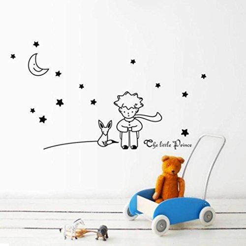 Pegatinas de paredDragon868 Baratos estrellas Luna el pequeño príncipe chico pegatinas de pared decoración de la casa (negro)