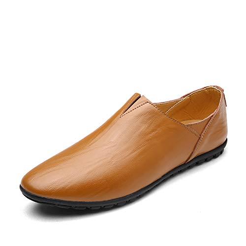 GPF-fei Herrenschuhe, Federleder-Komfortfahrschuhe Formal Business Work Business Casual Shoes Soft Sole Loafers & Slip-Ons Lazy Schuhe,Brown,43 Formale Slip