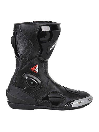 Bohmberg Premium Stivali da Moto, Stivali Sportivi in Pelle, Scarpe da Moto per Uomo, Pelle Idrorepellente e Robusta con Protezioni rigide Applicat