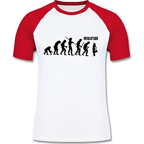 Evolution - Hip Hop Evolution - zweifarbiges Baseballshirt für Männer Weiß/Rot