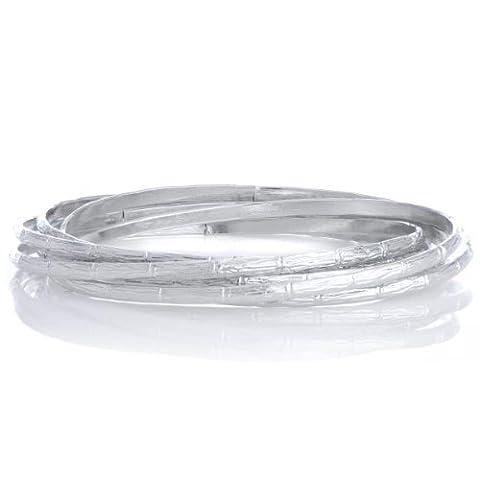 Silvertone-Bracelet en bambou 6 pièces