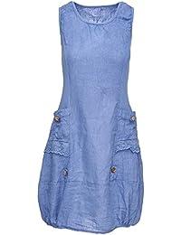 Zarlena Damen Sommerkleid Leinenkleid Spitzenapplikationen ärmellos