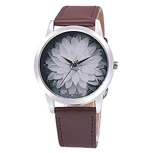 Yusealia Armbanduhren, Damen Uhren Frauen Mode Lederband Blume Leder Vogue Armbanduhr Classic Uhren Analog Quarz Modische Hohe Härte Armbanduhren Uhr Maedchen Armreif Uhr (Coffe) (Vogue Uhren Frauen)
