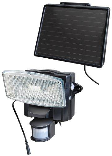 Brennenstuhl LED-Strahler SOL plus / LED-Leuchte für außen mit Bewegungsmelder und Solar-Panel (IP44, inkl. Akku, 8 x 0,5W) Farbe: schwarz
