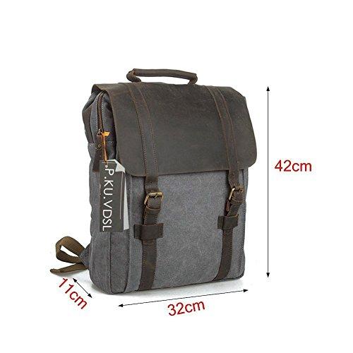Canvas Rucksack, P.KU.VDSL 15″ Laptoprucksack Vintage Canvas und Leder Schultasche Reisetasche Daypacks Uni Backpack für Outdoor Sports Freizeit (Grau, Laptoprucksack) - 4