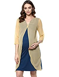 Mine4nine Women's Teal color block layered maternity dress