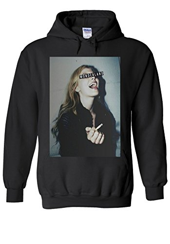 PatPat Store Sexy Smoke Weed Wonderland Girl Cool Novelty Black Men Women Unisex Hooded Sweatshirt Hoodie-XL -