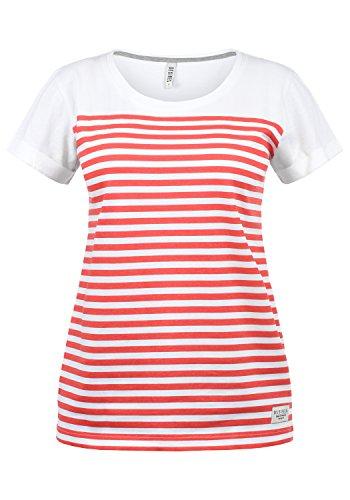 DESIRES Mimi Damen Longsleeve Langarmshirt Streifenshirt Shirt Mit Rundhalsausschnitt Aus 100% Baumwolle, Größe:XS, Farbe:Hibiscus (0784) -