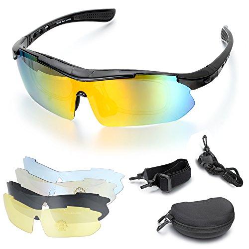 Aroncent Gafa de Sol Polarizada de Multifunciones con 5 Lentes Intercambiable y Accesorios para Carreras, Ciclismo, Golf y Otros Deportes Exteriores para Hombre Mujer Unisex