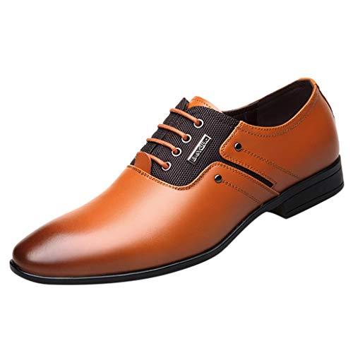 Eyelet Lace Up Mens Dress (KonJin Business Shoes for Men Pointed Toe Lace Up Leather Oxford Wedding Uniform Vintage Office UK Size 5.5-10)