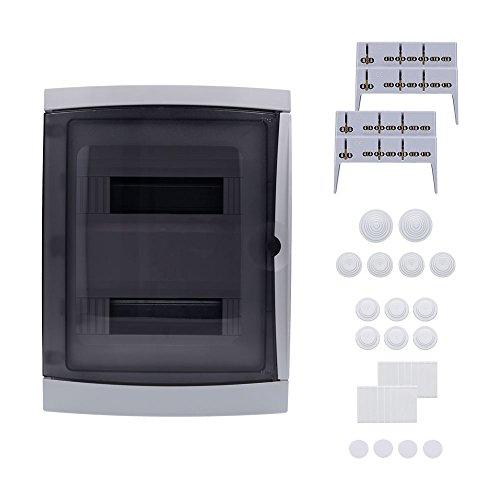 Aufputz Feuchtraum Verteiler 2-reihig IP65 26 Module Verteilerkasten Kleinverteiler Sicherungskasten, Tür transparent
