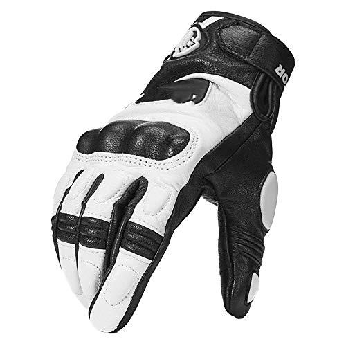 Männer Motorrad Handschuhe Kurz Leder Knöchelschutz Motorrad Motocross Handschuh,White-L