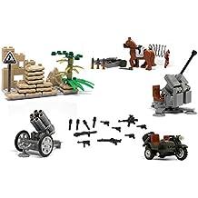 "Bloque de construcción de Lego - lanzador de cohete de Nebelwerfer, caballo, ""BMW R12 - Schweres Kraftrad 750 ccm WH-62163"" 3 ruedas 3 ruedas de la motocicleta, artillería antiaérea Flak de 88mm / tanque, MG42, C96, SGT 144, Paunzerfaust, MP40, casco en la Segunda Guerra Mundial"