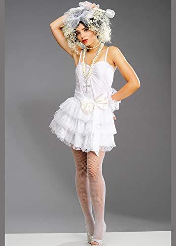 Weißes Madonna-Kostüm für Damen der 80er Jahre Small (UK 8-10)
