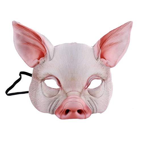 AMSIXP Maske Halloween Schwein Kopf Maske Tiere Kopf Tragen Erwachsene Kostüm Zubehör Party Cosplay Halloween Maske W (Kopf Tragen Kostüm)